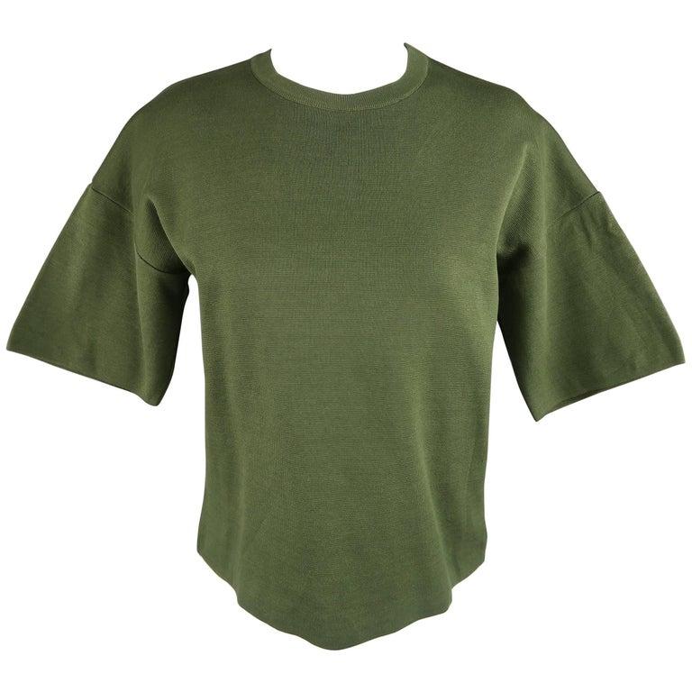 JIL SANDER Size S Olive Cotton Knit Crewnek Short Sleeve Pullover