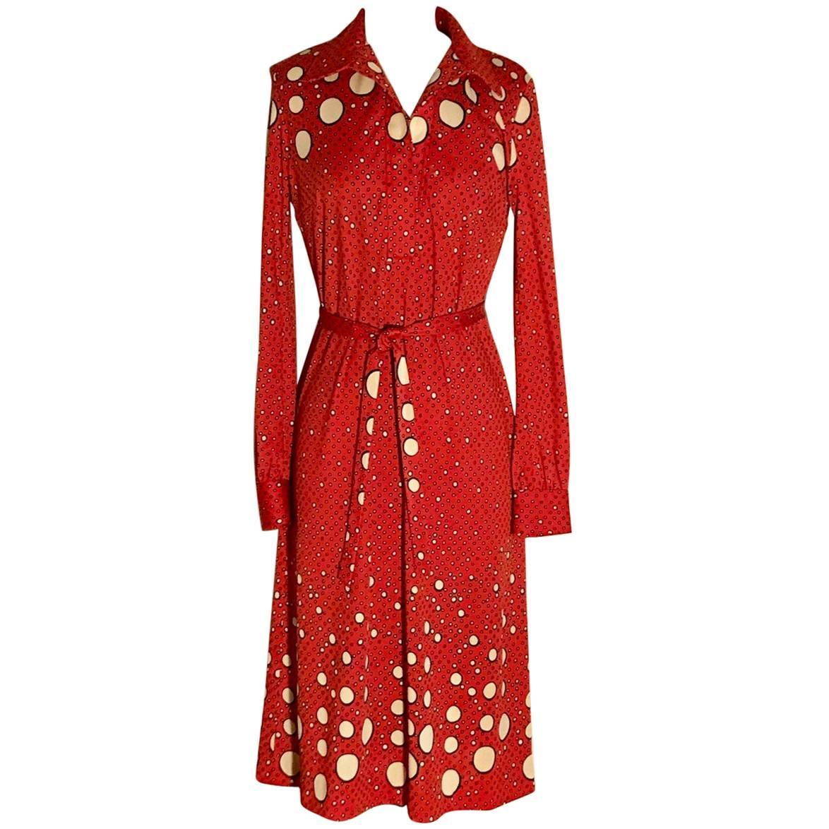 Roberta di Camerino Red and Cream Polka Dot Shirt Dress, 1970s