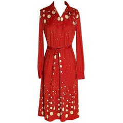 Roberta di Camerino Red and Cream Polka Dot Shirt Dress, 1970s