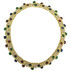 Ciner Swarovski Crystal Gilt Cabochon Necklace New, never worn 1980s