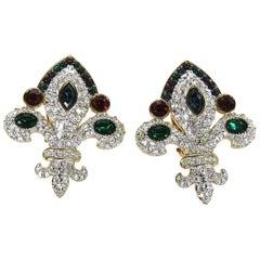 1980s Swarovski jeweler's collection Fleur De Lis Earrings New, Never worn