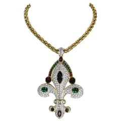 1980s Swarovski Massive Fleur De Lis Pendant Necklace, New Never Worn