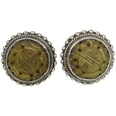 1990s Stephen DWECK Sterling and Jade Earrings New, Never worn