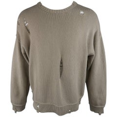 ISABEL BENENATO Size L Beige Distressed Destroyed Cotton Pullover Sweater