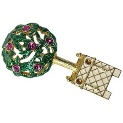 1980s Swarovski Crystal Enameled Tree Brooch Pin New,  Never worn