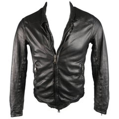Giorgio Brato Black Wrinkle Distressed Leather ART Motorcycle Jacket, Size 36