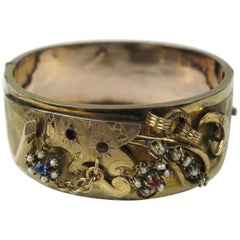 1870s Victorian Gold Seed Pearl Wide Bangle Bracelet
