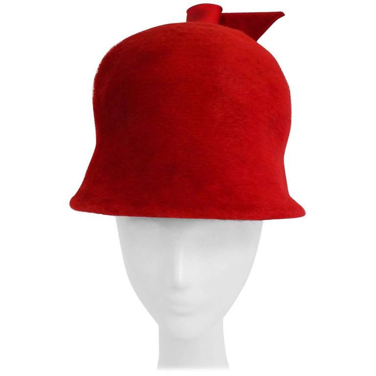 1960s Red Felt Mod Cloche Hat