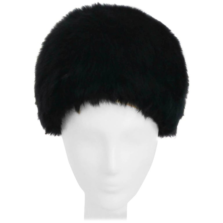 1960s Black Rabbit Fur Hat For Sale at 1stdibs f7890431703f