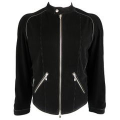 Armani Collezioni Black Corduroy and Leather Biker Jacket, Size XL