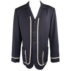 Yohyi Yamamoto Navy Wool Beige Piping Three Button Sport Coat