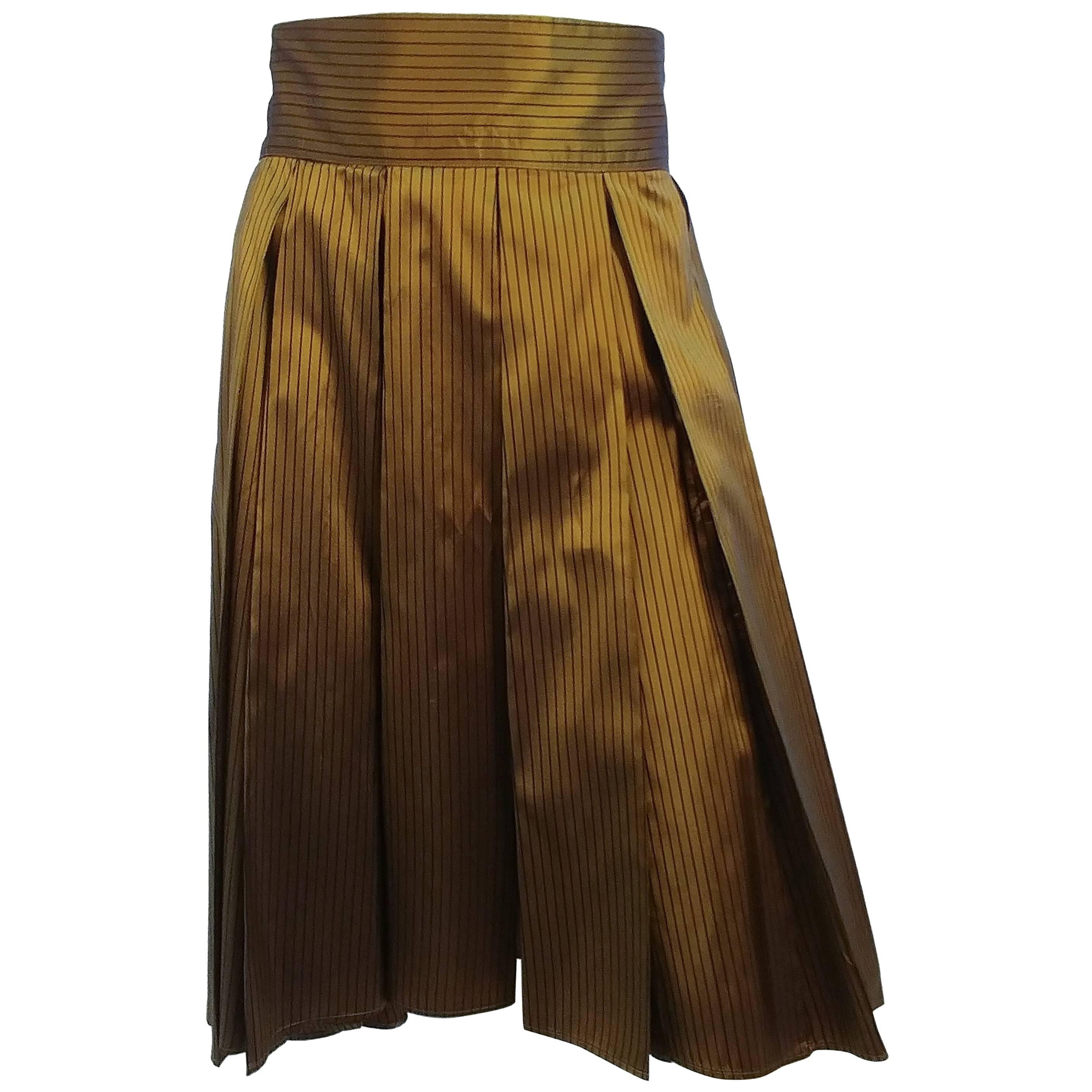 1990s Romeo Giglo Olive Striped High Low Pleated Skirt
