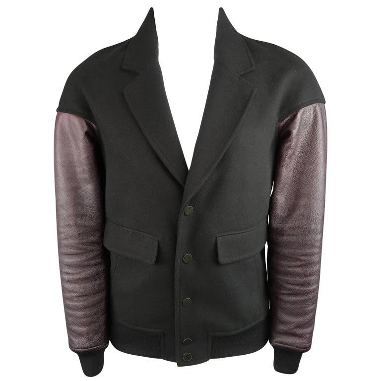Men's ALEXANDER WANG XS Black Wool Burgundy Leather Sleeve Notch Lapel Jacket