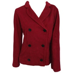 1950s Irene Cashmere Red & Black Gingham Jacket