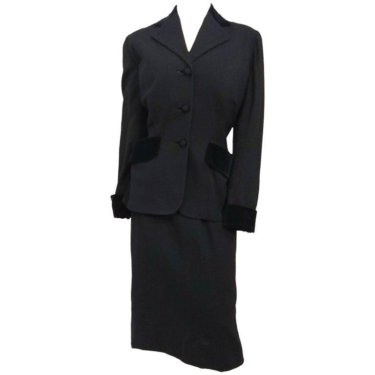 1940s Lilli Ann Two Piece Black Skirt Suit Set
