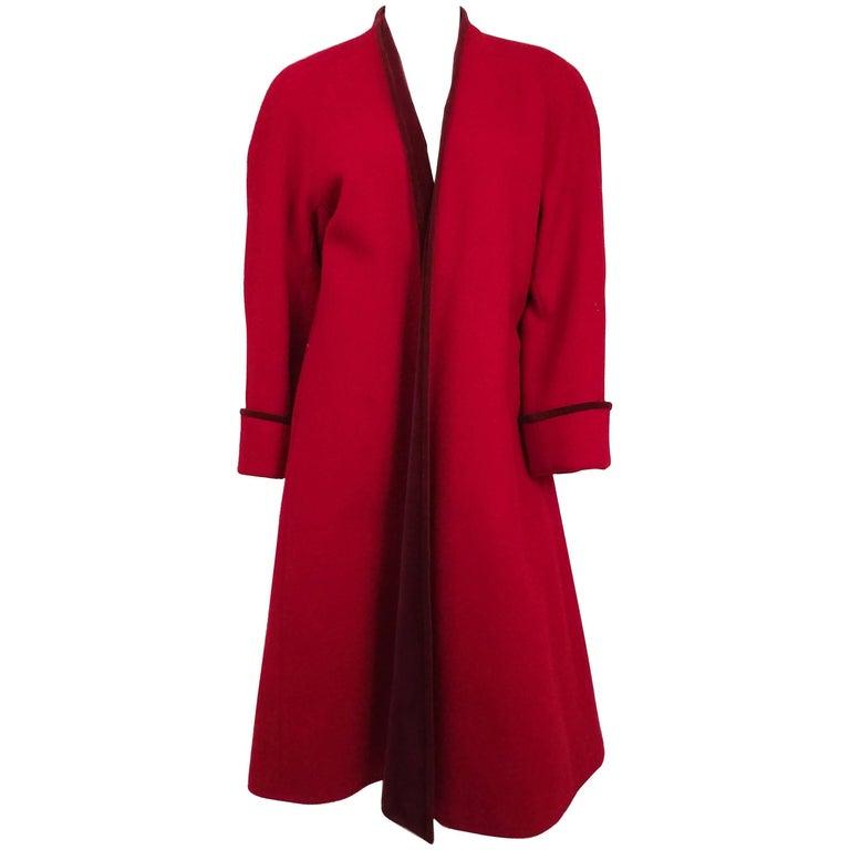 1980s Kenzo Red Wool Coat w/ Velveteen Lapels For Sale