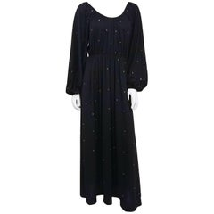 1970s Black Rhinestone Dress