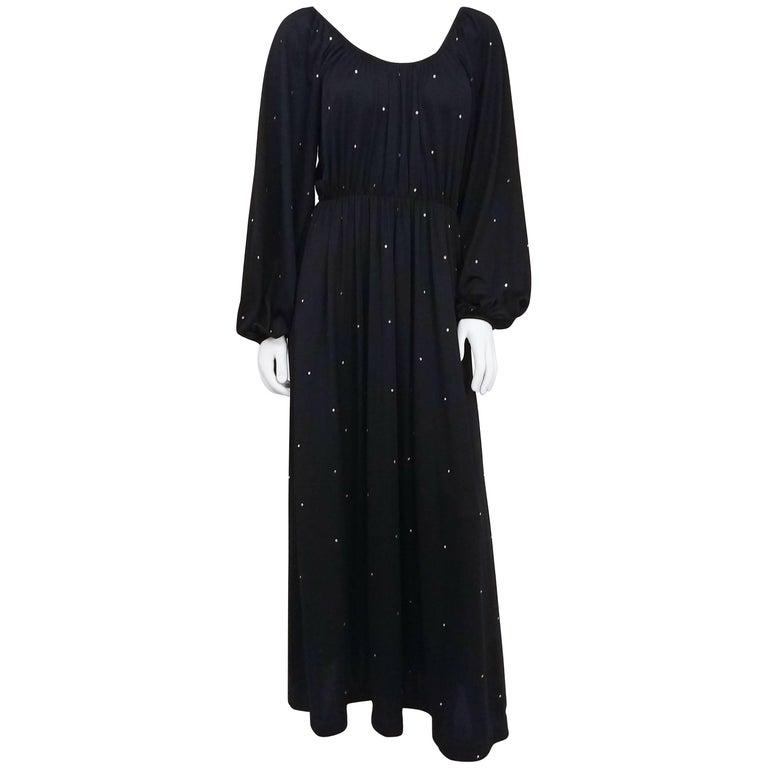 1970s Black Rhinestone Dress