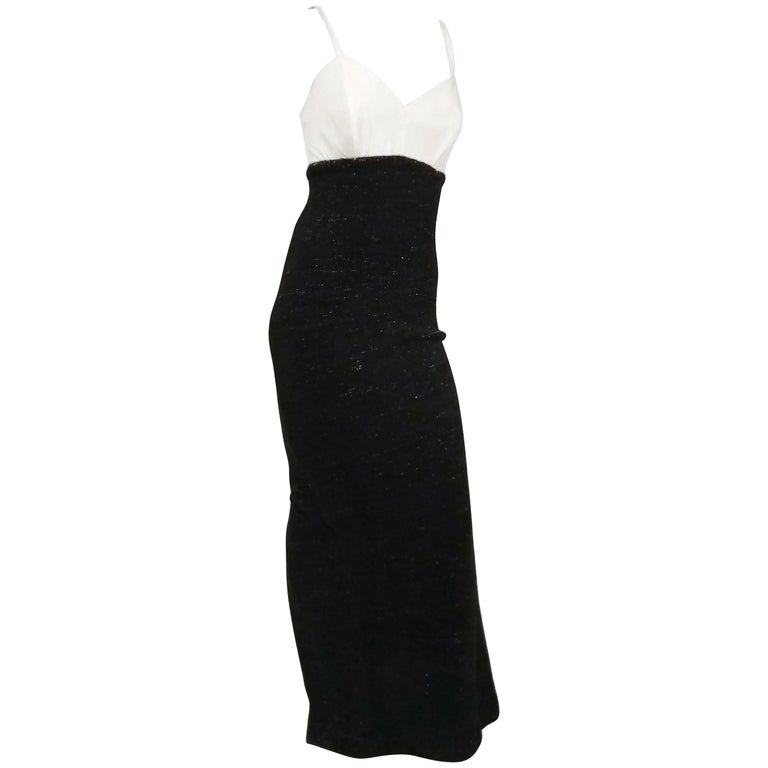 1990s Gianfranco Ferre Black & White Evening Dress