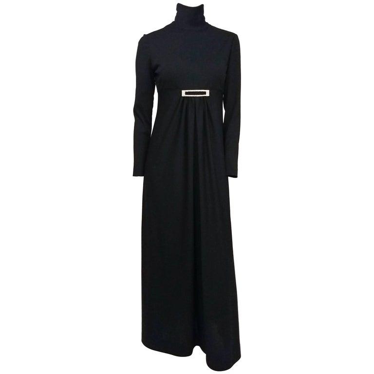 1970s Black Jersey Maxi Dress w/ Rhinestone Buckle