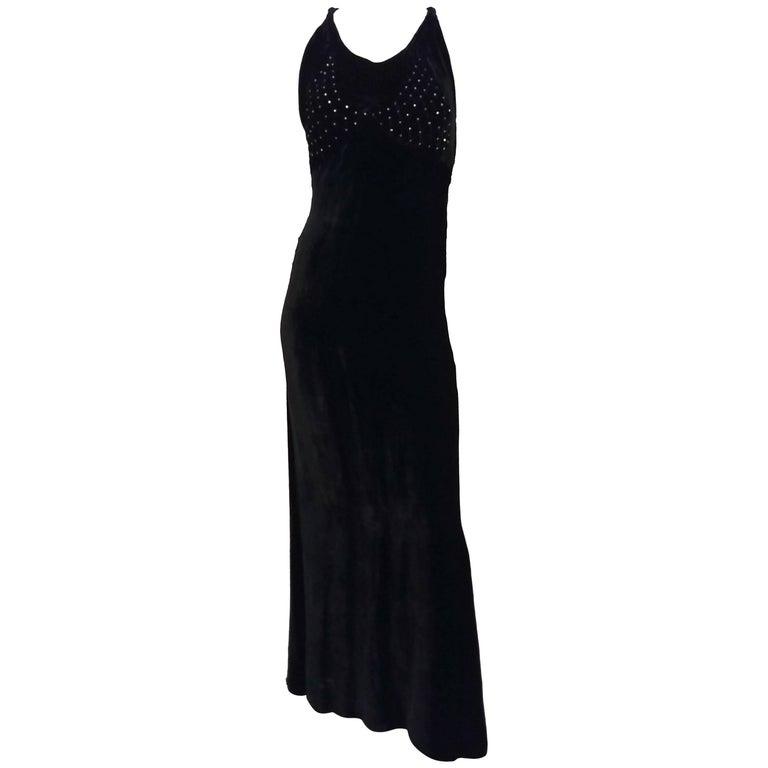 1930s Black Silk Velvet Evening Dress w/ Rhinestone Bodice For Sale ...