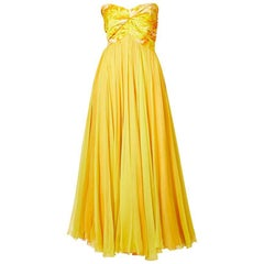 Sarmi Chiné Taffeta and Chiffon Strapless Gown