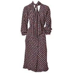 Halston Silk Wrap Style Day Dress