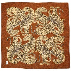 Yves Saint Laurent Leopard Pattern Silk Scarf with Gold Metallic Embellishment