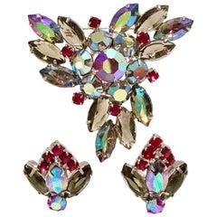Vintage Austiran Crystal Rhinestone Demi Parure S/3 Brooch & Earrings