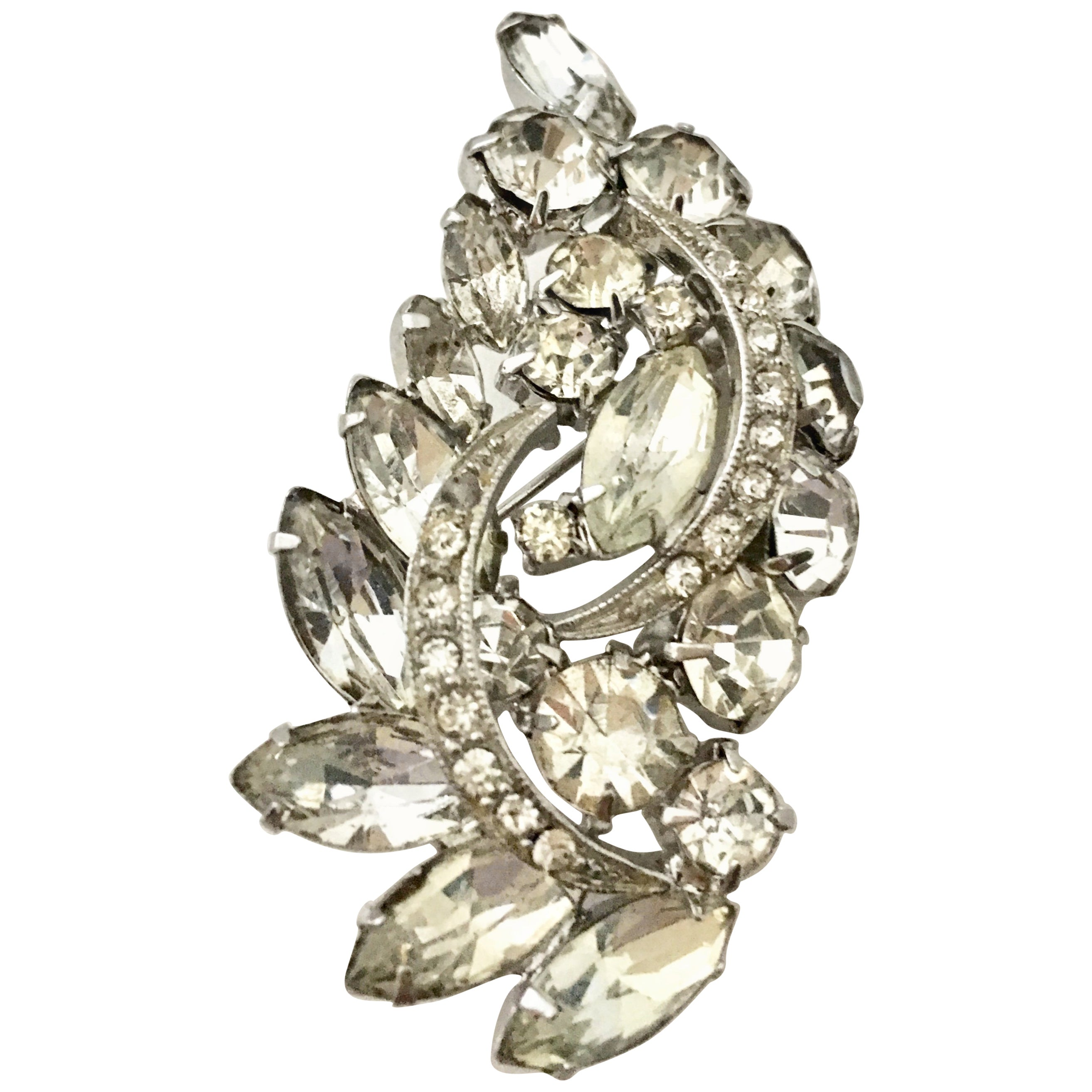 2eb850250aa Vintage Weiss Style Austrian Crystal Silver Abstract Dimensional Brooch at  1stdibs