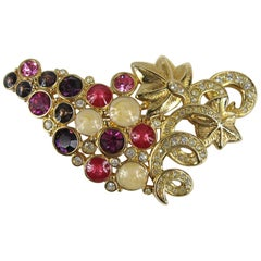 1980s Daniel Swarovski Crystal Grape Brooch Pin New, Never Worn