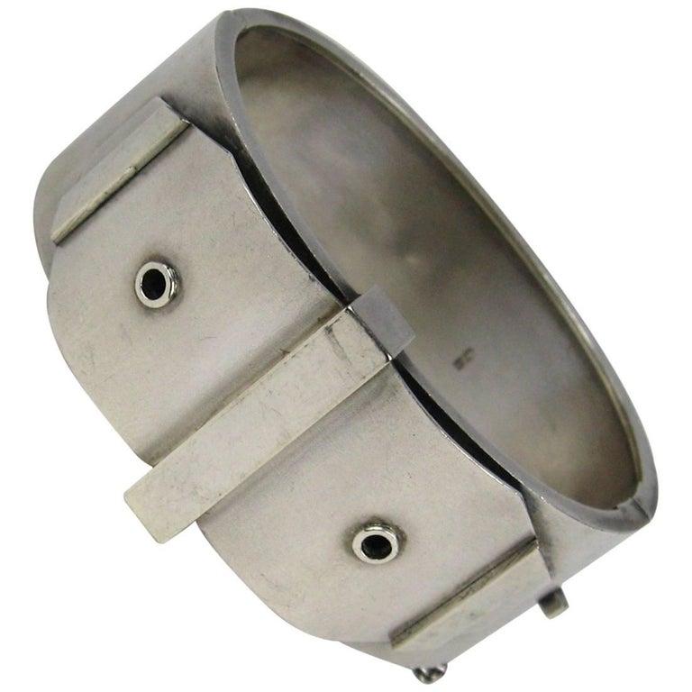 Victorian English Sterling Silver Bracelet Cuff Bangle