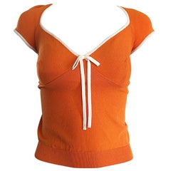 1990s Moschino Cheap & Chic Orange + White Vintage Cap Sleeve 90s Blouse Top