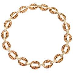 1980s Daniel Swarovski Amber & Clear Crystal Necklace New, Never Worn