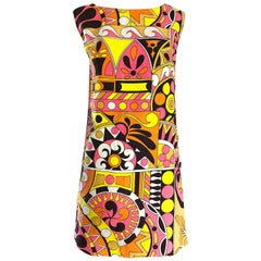 1960s Saks 5th Avenue Mod Kaleidoscope Print Pucci Style Vintage 60s Shift Dress