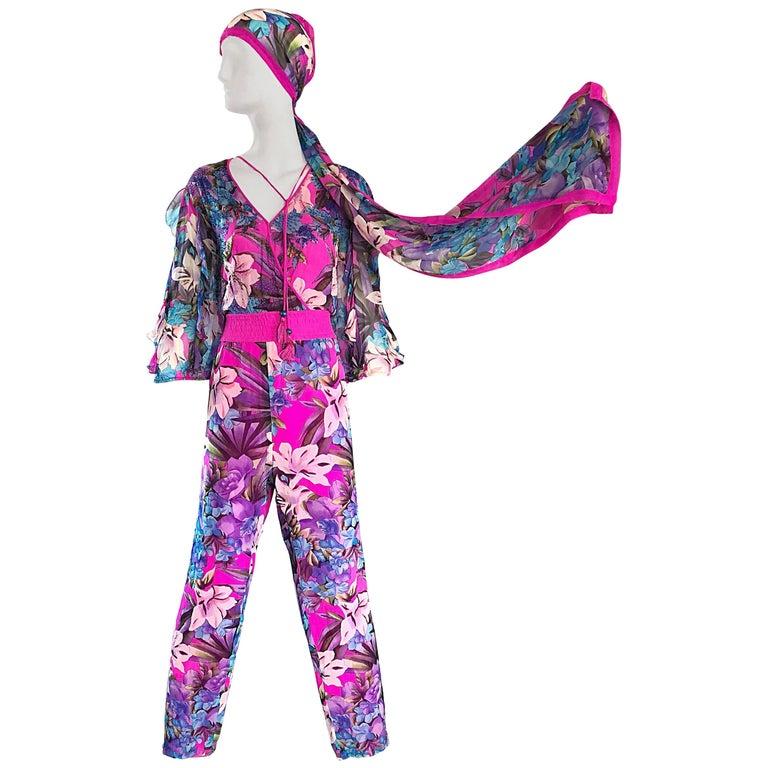 Amazing Vintage Diane Freis Silk Chiffon Beaded Pink Jumpsuit & Head Scarf Sash  For Sale
