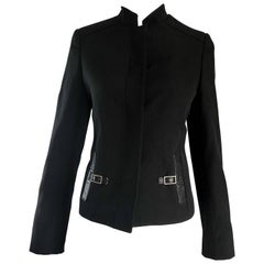 Tom Ford for Gucci Black Rayon + Leather 1990s Size 40 Vintage 90s Moto Jacket