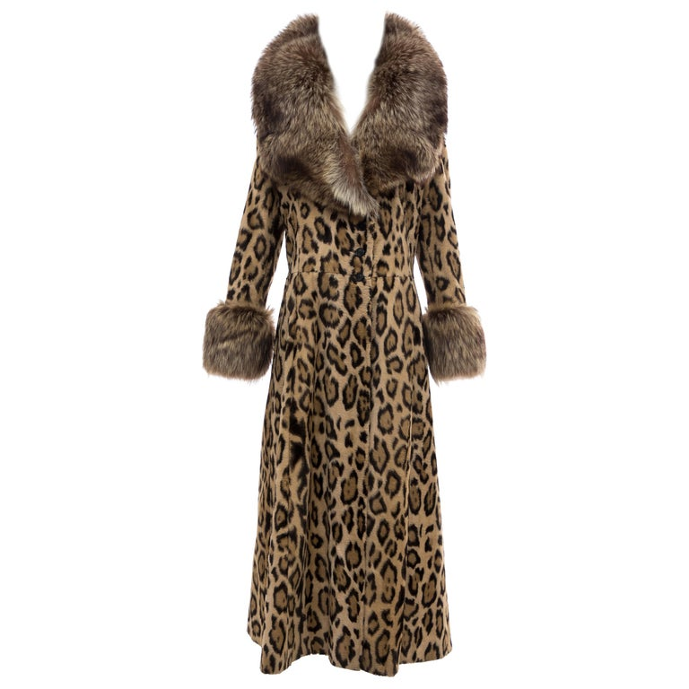 Goldring's Couture Faux Leopard Coat Dramatic Fur Collar & Cuffs, Circa: 1970's For Sale