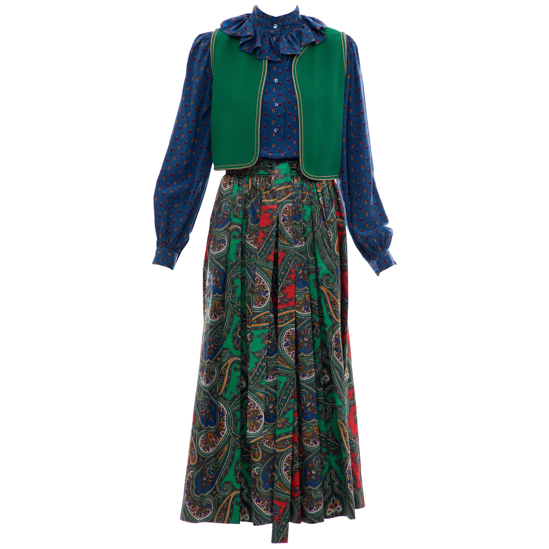 Yves Saint Laurent Rive Gauche Silk Cotton Sateen Wool Skirt Suit, Circa 1970s