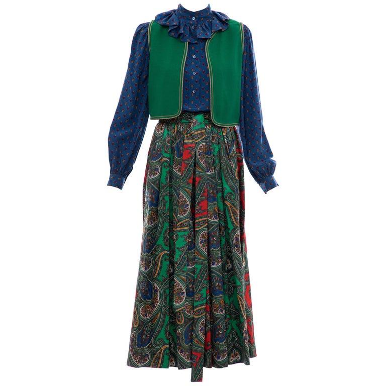 Yves Saint Laurent Rive Gauche Silk Cotton Sateen Wool Skirt Suit, Circa 1970s For Sale