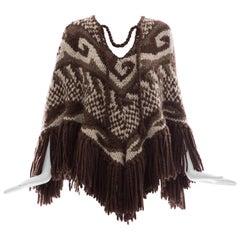 Dolce & Gabbana Runway Wool Aplaca Knit Pocho, Fall 2002