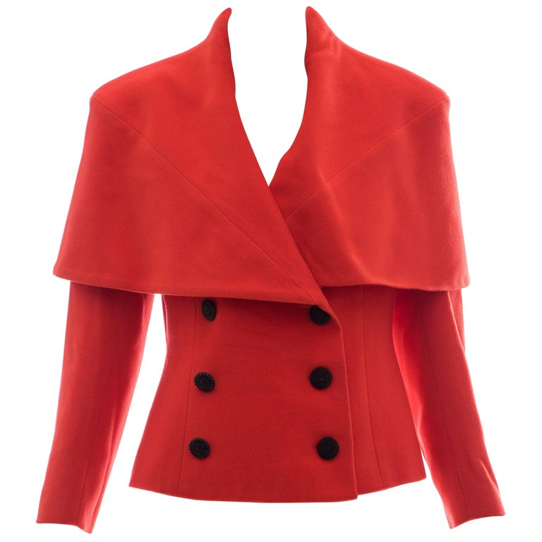 Karl Lagerfeld For Chloe Paprika Wool Shawl Collar Jacket, Circa 1980's For Sale
