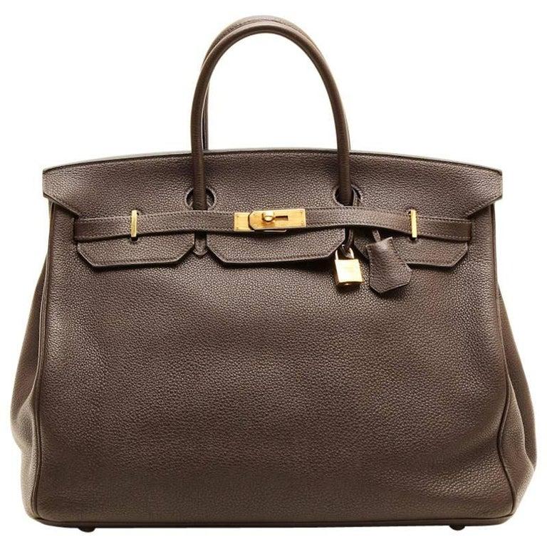 23a5257e4e8 HERMES Birkin 40 in Brown Taurillon Clémence Leather For Sale. Birkin 40  Hermes in brown taurillon clémence leather. Gilded hardware. Made in France.