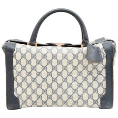 Vintage GUCCI Vanity in Blue Monogram Canvas and Leather
