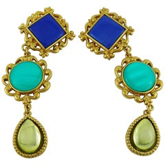 Yves Saint Laurent YSL Vintage Geometric Resin Dangling Earrings