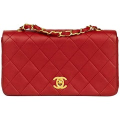 1990 Chanel Red Quilted Lambskin Vintage Mini Flap Bag