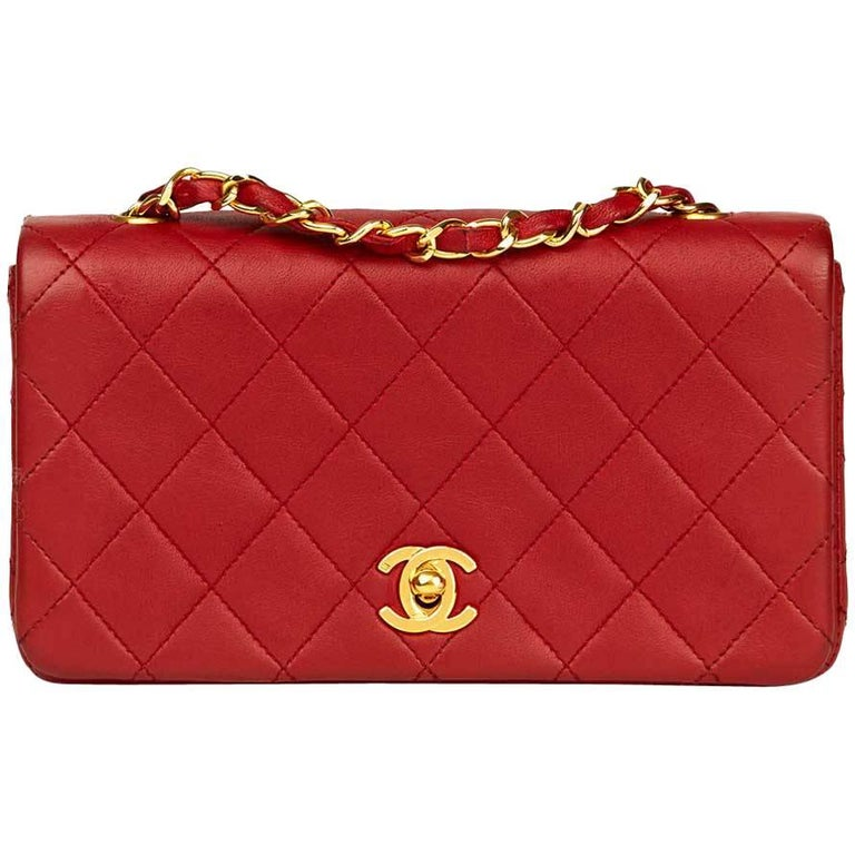 64dae0e5439d 1990 Chanel Red Quilted Lambskin Vintage Mini Flap Bag For Sale at ...
