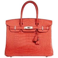 Hermes Rouge Indienne Matte Alligator Leather Birkin 30cm