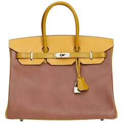 Hermes Bois De Rose, Jaune & Vert Anis Box Calf Leather Special Order Birkin 35