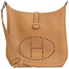 Hermes Tabac Clemence Leather Evelyne III 33